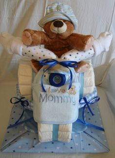 Diaper Tricycle for baby boy shower.