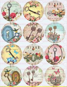 Vintage Keys Circles Micro Foils - Inches - 2 Inches - Digital Collage Sheet - Pocket Mirror, Tags, Scrapbooking, Cupcake Toppers - Diy and craft Éphémères Vintage, Decoupage Vintage, Vintage Keys, Decoupage Paper, Vintage Labels, Vintage Ephemera, Vintage Paper, Vintage Postcards, Carta Collage