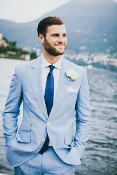 Beautiful & Timeless Lake Como Wedding in Italy Beautiful Lake Como Wedding In Italy – Fiona Clair Best Wedding Suits, Wedding Tux, Italy Wedding, Wedding Looks, Wedding Attire, Blue Wedding, Light Blue Suit Wedding, Wedding Flowers, Wedding Bouquets