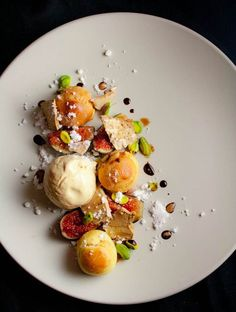 Caramelized White Chocolate Profiteroles and Ice Cream, Balsamic Meringue, Black Mission Figs, Pistachios, Aged Balsamic | Yelp