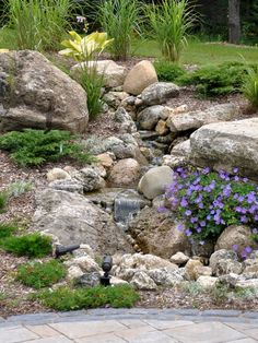 Front Yard Landscaping 50 Super Easy Dry Creek Landscaping Ideas You Can Make! - Images and ideas for backyard landscaping and do it yourself projects to easily create dry creek and river bed designs that dress up your property. Dry Riverbed Landscaping, Landscaping With Rocks, Front Yard Landscaping, Backyard Landscaping, Backyard Waterfalls, Backyard Ideas, Inexpensive Landscaping, Waterfall Landscaping, Pool Ideas