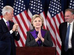 In her speech, Clinton congratulated Donald Trump on becoming the 45th president of the United States, thanked everyone who participated in her campaign, and encouraged Americans to continue fighting for what they believe in.
