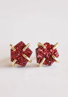 Burgundy Druzy Prong Citrine Crystal, Stone Cuts, Sale Items, 18k Gold, Burgundy, Stud Earrings, Stones, Jewels, Sterling Silver