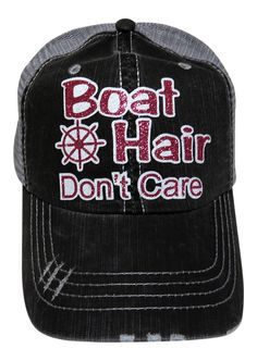 "NEW! Fuchsia and White Glitter ""Boat Hair Don't Care"" on Grey Trucker Cap! Order now at www.shopspiritcaps.com!"
