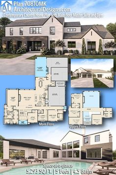 House Plan 70810MK gives you 5000+ square feet of living space with 5 bedrooms and 4.5 baths. AD House Plan #70810MK #adhouseplans #architecturaldesigns #houseplans #homeplans #floorplans #homeplan #floorplan #houseplan Country House Plans, New House Plans, Dream House Plans, Modern House Plans, Dream Houses, Contemporary Country Home, Contemporary Style Homes, Safe Room, Beautiful Home Designs