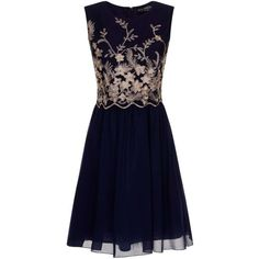 **Little Mistress Navy Embroidered 2 in 1 Dress ($97) ❤ liked on Polyvore featuring dresses, blue, embroidery dress, navy dress, embroidered dress, blue dress and little mistress