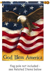 """American Pride Flag design by artist Susan Winget for Breeze Art. The bold, patriotic design is visible from both sides and """"God Bless America"""" reads correctly from both sides - Size: 28"""" Wide x 40"""" Long  @justforfunflags"""