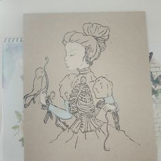 My painting before* I fully painted it. Looks better like this. #painting #art #tattoo #design #drawing #grunge #pastel #skeleton #skull #bird #nature #inspiration #sketch #hippie #love #beautiful #artwork