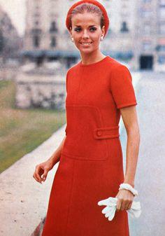 Red creped gabardine dress Christian Dior, photo Richard Dormer, Vogue Pattern Book April/May 1969