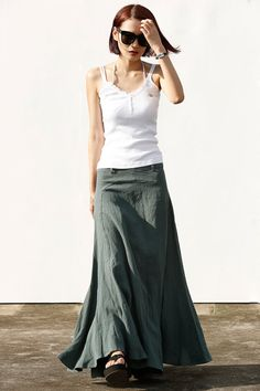 Romantic Maxi Skirt Long Linen Skirt in Dark Green - NC456