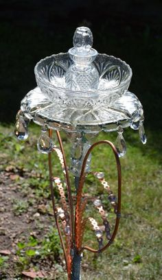 Turn Glass Dishes into a Whimsical Garden Totem