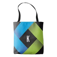 #monogram - #Blue Green with Modern Geometric Pattern Tote Bag