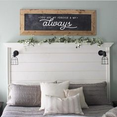 Guest bedroom for our next house. Shiplap headboard for guest bedroom. Love that idea! Shabby Chic Bedrooms, Cozy Bedroom, Home Decor Bedroom, Bedroom Wall, Diy Home Decor, Bedroom Ideas, Master Bedroom, Bedroom Furniture, Bedroom Designs