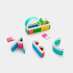 Kid O's alphabuild large magnetic toy forming the letters a b and c and a house