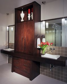 Pendant lights instead of sconces in the bathroom