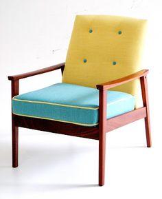 Vamp Furniture – Mid-century easy chair; upholstered in duck egg blue and lemon (Hertex Fabrics).