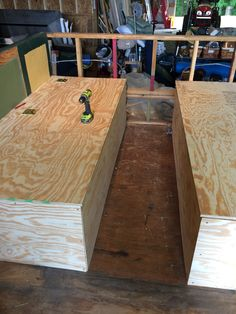 Bed boxes completed, very solid and will serve as both beds and couches.