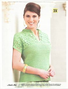 Mandarin Top by Tatyana Mirer. Crochet jumper or tunic. 8 ply 230m/100g x 4-5. 3.25 & 3.5 mm hook. Crochet Gifts to Go. Crochet! Magazine Spring 2013. Saved to Evernote/ iBooks