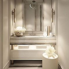 Art Deco Bathroom Cabinet Toilets Ideas For 2019 Glamorous Bathroom, Beautiful Bathrooms, Art Deco Bathroom, Small Bathroom, Bathroom Plants, Powder Room Design, Vanity Design, Bathroom Design Luxury, Bathroom Inspiration