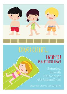 Pool Party Boys And Girls Invitation