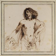 David with the head of Goliath Drawing by Guercino (Barbieri, Giovanni Francesco) Italy) Caravaggio, David, Italy, Kara, Drawings, Baroque, Southern, Painting, Italia