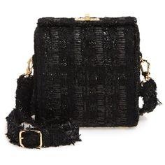 Women's Simone Rocha Tweed Crossbody Bag ($755) ❤ liked on Polyvore featuring bags, handbags, shoulder bags, black, crossbody purses, cross-body handbag, strap purse, crossbody shoulder bags and woven purse