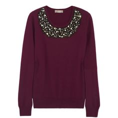 N.Peal Cashmere Embellished cashmere sweater (225 CAD) ❤ liked on Polyvore featuring tops, sweaters, shirts, jumpers, burgundy, loose fitting shirts, cashmere shirt, burgundy shirt, purple top and purple cashmere sweater