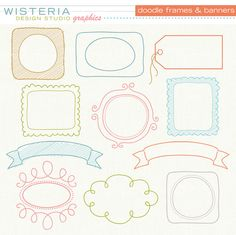 Doodle Frames and Banners - Clip Art for Personal & Commercial Use - Digital Designs. $5.00, via Etsy.