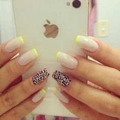 Nude and lime green nails