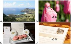Example aperture settings for shots of landscapes and still life. http://www.amazon.com/How-Get-Green-Auto-Setting/dp/1512289582