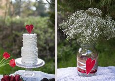 A Styled Shoot: Valentines Day, kids, kissing booth, hearts, sparkling, glitter, love, dessert table, lace, balloons, mason jars, mini cake