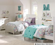 Shared Bedroom Idea I Big Initial Above Each Bed