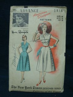 1950s Cross Over Bodice Dress Pattern New York Times by kinseysue