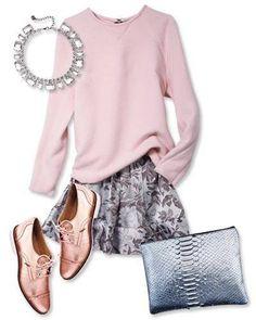 Skirt and Derbys metallic for work