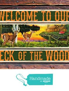 """""""Welcome to Our Neck of the Woods"""" - 8""""x12"""" 3 Piece Reclaimed Pallet Wood Sign - Handmade in Nashville, TN from Sawyer's Mill Inc. http://www.amazon.com/dp/B01AHN38MG/ref=hnd_sw_r_pi_dp_H6xUwb1R6EZ7N #handmadeatamazon"""