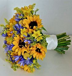 Hand Tied Wedding Bouquet With Yellow & Purple Florals