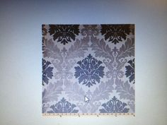 Damask for back of buffet after painting gray walls