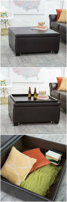This ottoman can be used for storage and as a coffee table when entertaining guests. The leather stain will match the couch.