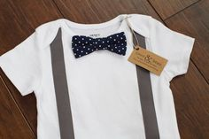 Baby Boy Gray Suspender Navy/White Polka Dot Bow by cocoandbeau, $15.00