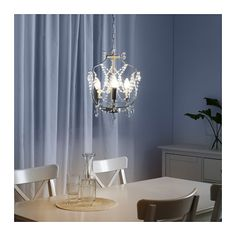 KRISTALLER chandelier, 3 cabang, warna perak/kaca | IKEA Indonesia Ikea Chandelier, 3 Light Chandelier, Lustre Ikea, Home Decor Furniture, Home Furnishings, Clear Light Bulbs, Led Lampe, Dream Decor, Apartment Interior