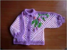 Crochet Granny Square Style Baby Cardigan - Pattern and Photos