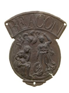 The Beacon Fire Insurance Company's fire mark, 1821-27, depicts the Roman goddess Fortuna with her symbolic attributes, the wheel of fortune and a cornucopia. (Museum of London)