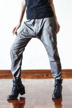 VALO URBAN - Grey herringbone - An impressive drop crotch harem pant with a slim leg - Unisex | VALO