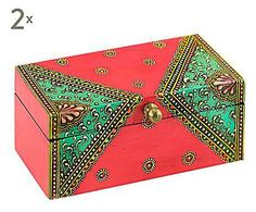 TRA INDIA E MAROCCO: Set di 2 scatole in legno Amini - 14x6x7 cm Painted Wooden Boxes, Hand Painted Furniture, Wooden Decor, Old Boxes, Antique Boxes, Dot Painting, Painting On Wood, Recycled Paper Crafts, Decoupage Glass
