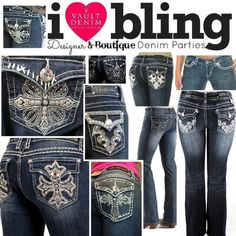 I bling do u? If you love bling or no bling Vault Denim is for you. Book your party today! Love Jeans, Sexy Jeans, Jeans And Boots, Best Plus Size Jeans, Denim Party, Bling Jeans, Cute Fashion, Womens Fashion, Embellished Jeans