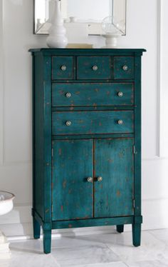Our space-saving Chloe Tall Chest goes where other furniture won't. We made it just the right size to bring new life to nooks, corners, and other small spaces. Paint Furniture, Furniture Projects, Furniture Makeover, Antique Furniture, Home Furniture, Rustic Furniture, Teal Painted Furniture, Refinished Furniture, Furniture Market