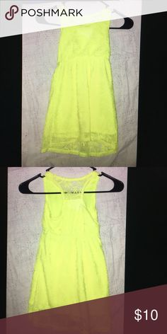Girls Dress Youth Size XS Girls Youth Dress size XS. This dress is Neon yellow very cute lace material atop a matching Neon Yellow attached dress. This dress is super comfy and very cute! Like new condition with NO stains or Rips! Cherokee Dresses Casual