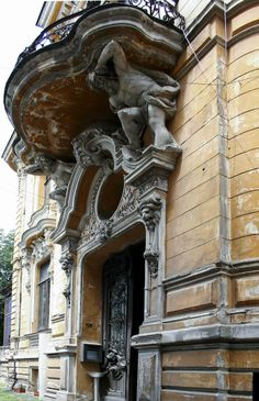 """The Macca House from Bucharest, Romania  The Main entrance Built between 1891-1900, designed by the Romanian architect Ion D. Berindey in Eclectic style with Art-Nouveau and Baroque influences, it hosts today the Institute of Archaeology """"Vasile Pārvan""""."""