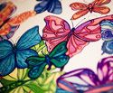 Pen Art: Butterflies drawn with coloured pens by Sarah Jansma Pen Design, Butterfly Drawing, Pen Art, Pens, Butterflies, Canvas Art, Blue, Painting, Color