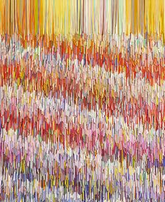 Pink Interference, Peter Combe:   artwork created from thousands of shredded household paint swatches petercombe.wordpr... www.flickr.com/... #paint_chips #art #repurposed